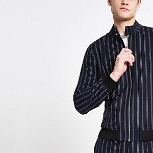 Marineblaue Harrington-Jacke mit Streifen