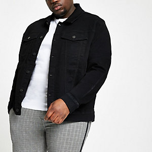 Big and Tall – Veste en denim noire stretch