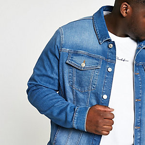 Big and Tall – Veste en denim bleu stretch
