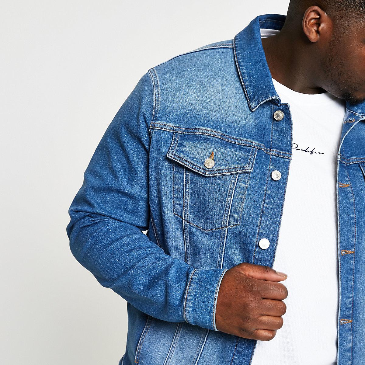 Big & Tall – Blaue Jeansjacke mit Stretch