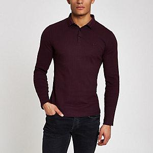 Muscle Fit Polohemd in Bordeaux mit langen Ärmeln