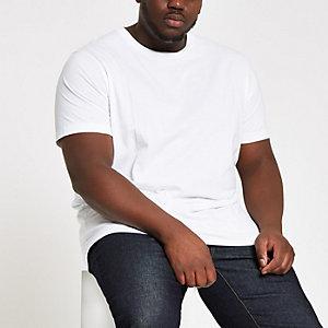 Big & Tall – Weißes Slim Fit T-Shirt mit Rundhalsausschnitt