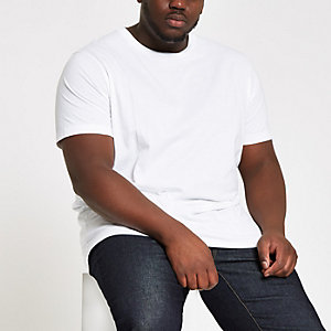 Big and Tall - Wit slim-fit T-shirt met ronde hals