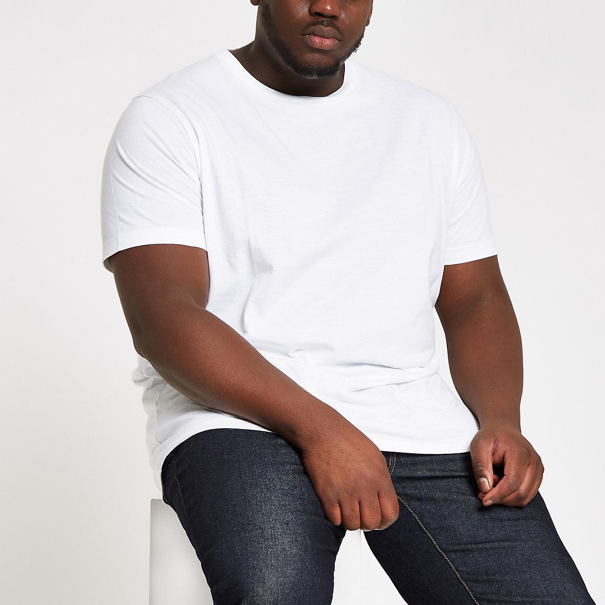 Big and Tall – T-shirt slim blanc ras-du-cou