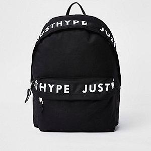 Hype - Zwarte rugzak met bies en 'just hype'-print