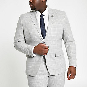 Big & Tall – Grau karierte Anzugjacke