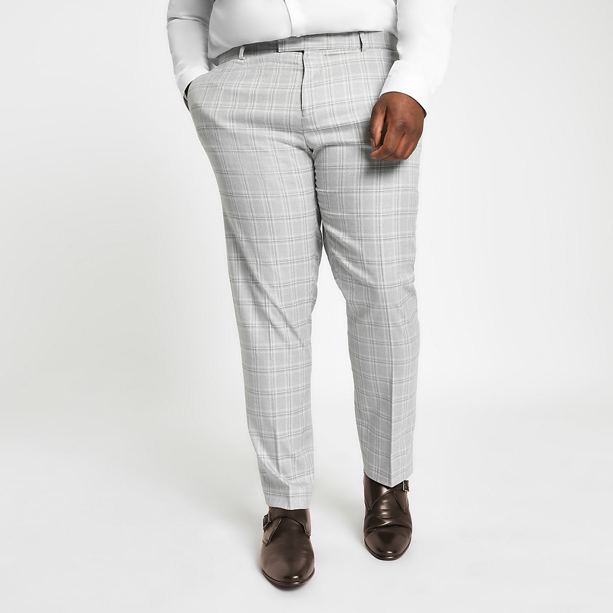 Big and Tall grey check suit trousers