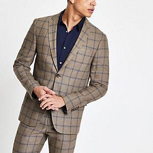 Veste de costume skinny à carreaux écru