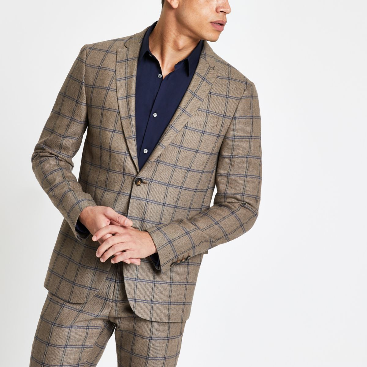 Ecru check skinny fit suit jacket
