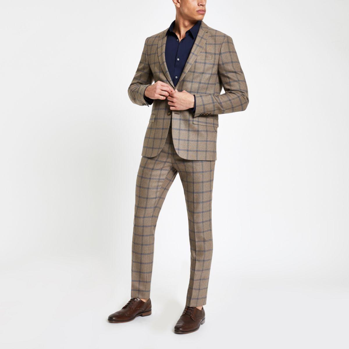 Ecru check skinny suit pants
