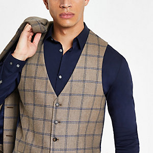 Ecru check slim fit suit waistcoat