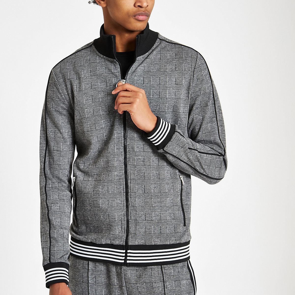 Grey check slim fit track jacket