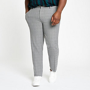Big and Tall grey check smart trousers