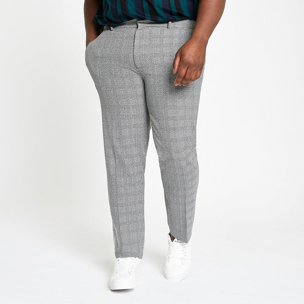 Big & Tall – Graue, elegante Hose mit Karomuster