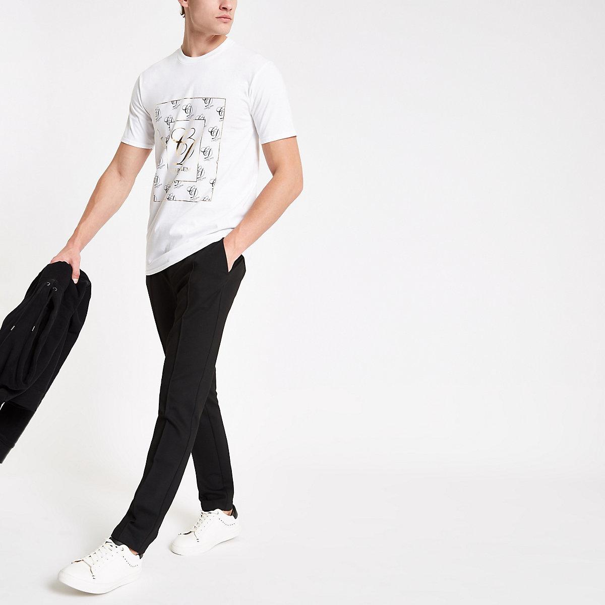 White gold foil 'Carpe diem' T-shirt