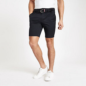 Navy belted slim fit chino shorts
