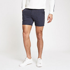 Marineblauwe geruite slim-fit short