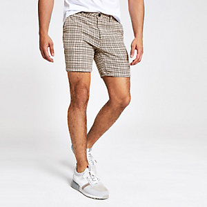 Short slim à carreaux grège
