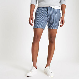 Blaue, gestreifte Slim Fit Shorts