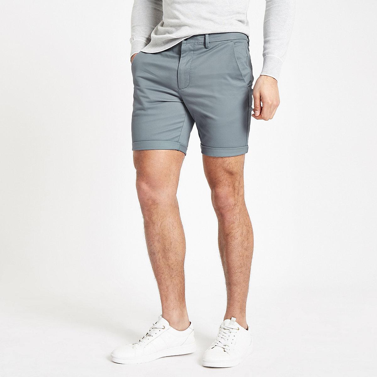 Blue skinny chino shorts