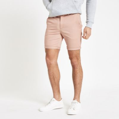 Pink Skinny Chino Shorts by River Island