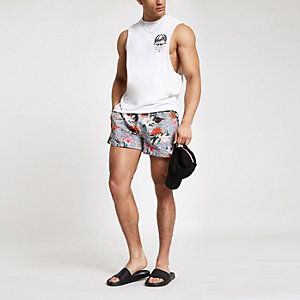 Grey leopard floral print swim trunks