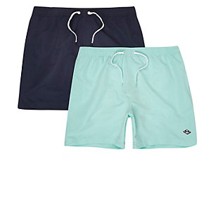 Navy and light blue swim trunks two pack