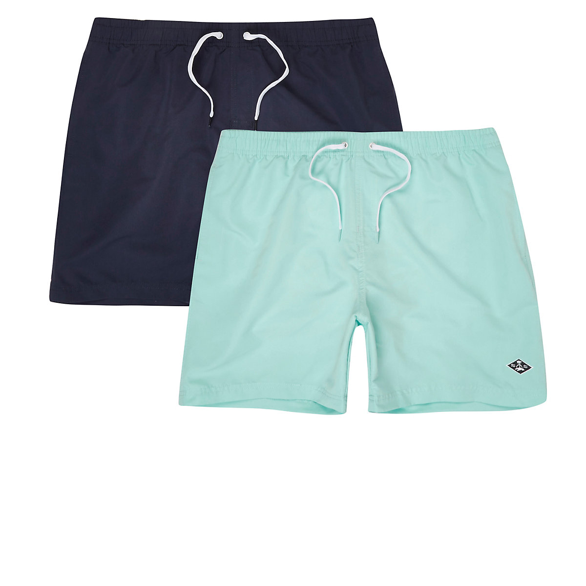 Navy and light blue swim shorts two pack