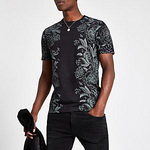 Schwarzes Slim Fit T-Shirt mit Blumenprint