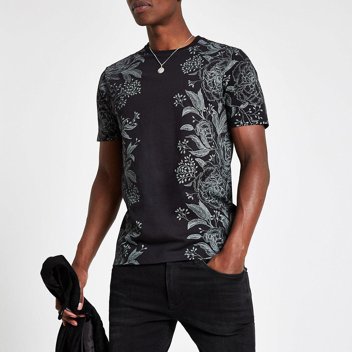 Black floral print slim fit T-shirt