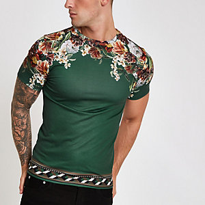 Green floral shoulder print slim fit T-shirt