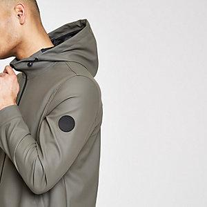 Khaki water resistant hooded parka raincoat