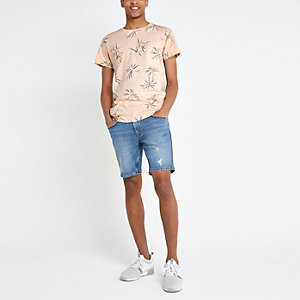 Bellfield – T-shirt rose à fleurs et ourlet arrondi