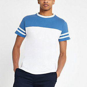 Bellfield white colour block T-shirt