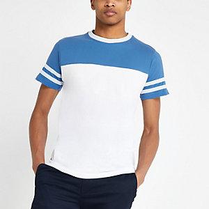 Bellfield - Wit T-shirt met kleurvlakken