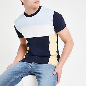 Bellfield – Marineblaues T-Shirt in Blockfarben