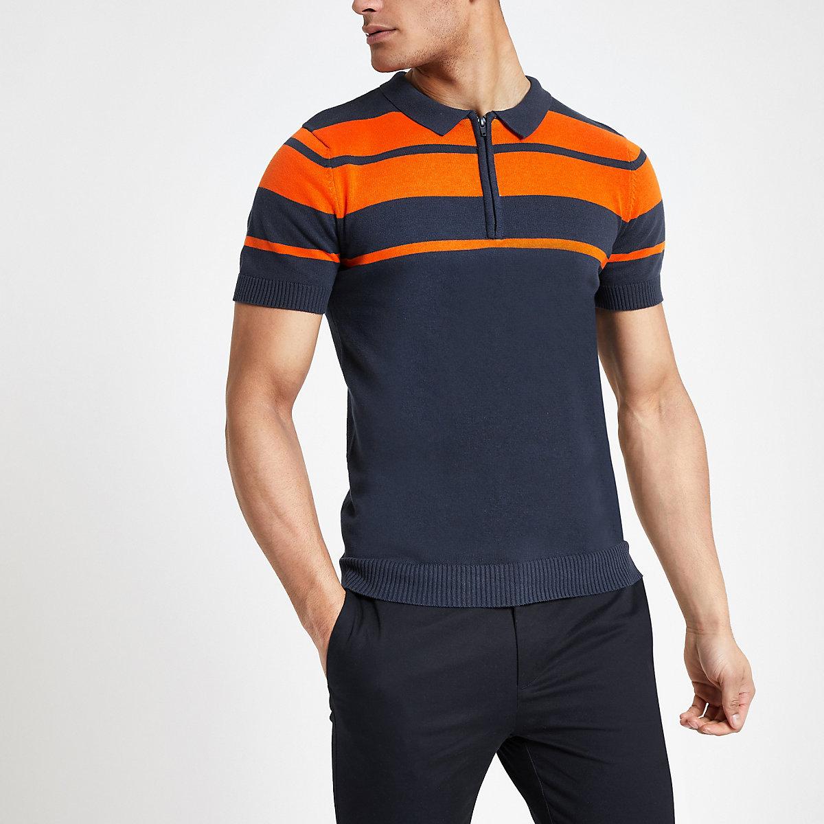 Bellfield navy stripe half zip polo shirt