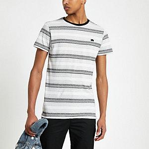 Bellfield - Grijs gestreept T-shirt