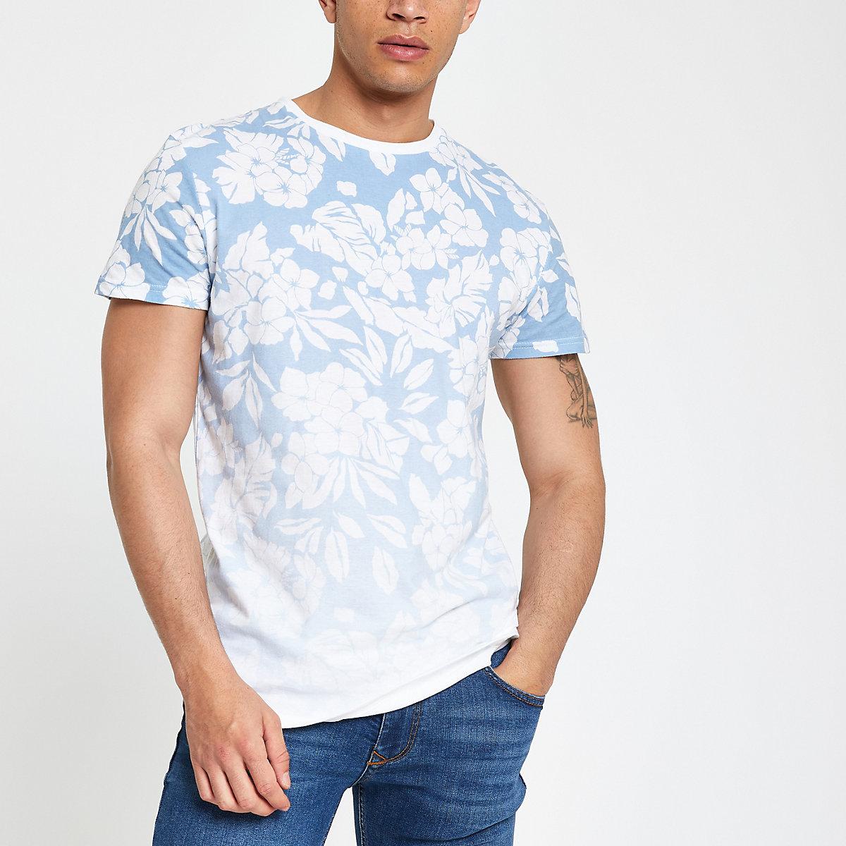 Bellfield blue ombre floral print T-shirt