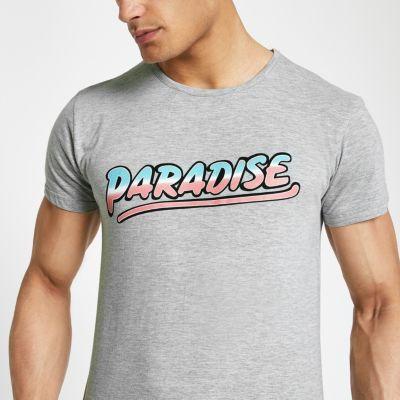 Bellfield Marl Grey 'paradise' Print T Shirt by River Island