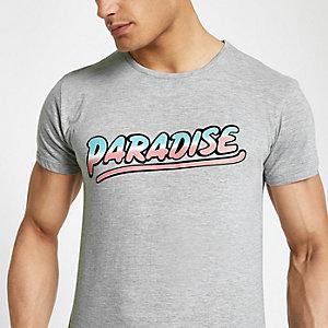 Bellfield - Grijs gemêleerd T-shirt met 'Paradise'-print