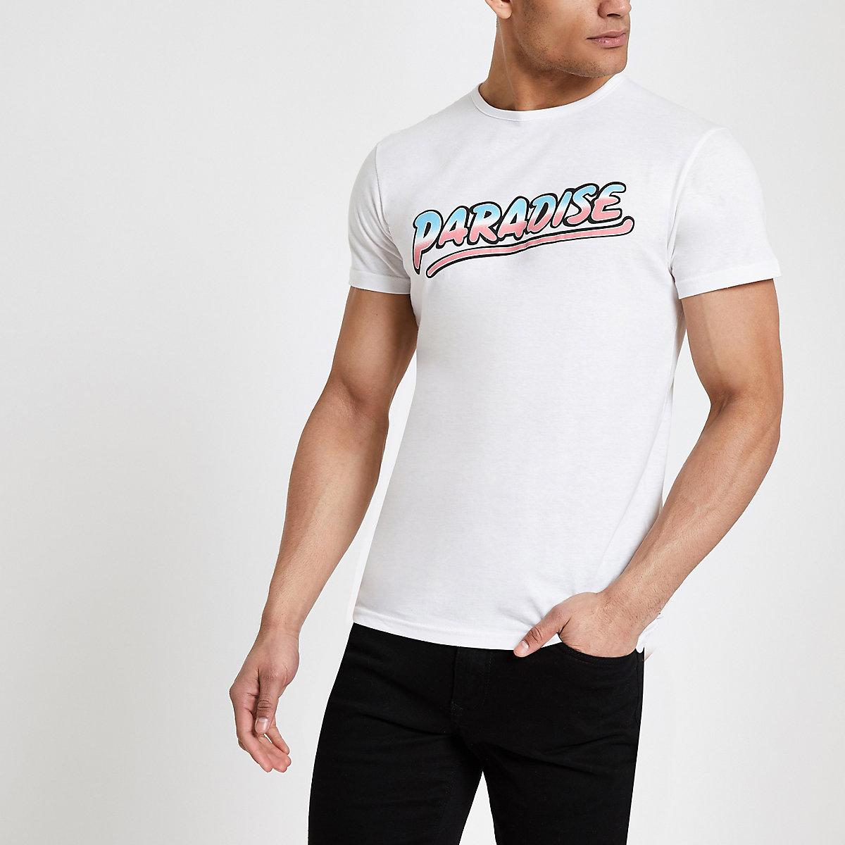 Bellfield – T-shirt imprimé «Paradise» blanc
