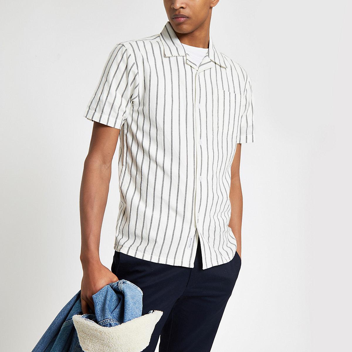 Bellfield white vertical stripe shirt