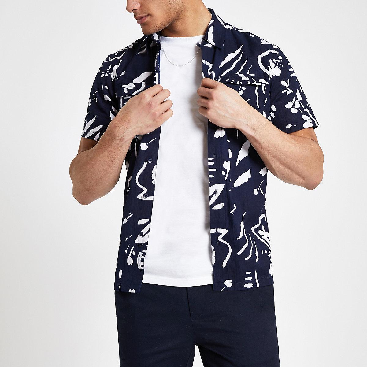 Bellfield navy abstract print shirt