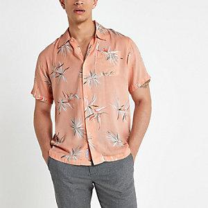 Bellfield - Roze overhemd met bloemenprint en korte mouwen
