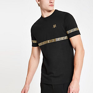 Schwarzes Slim Fit RI-T-Shirt mit Goldfolie