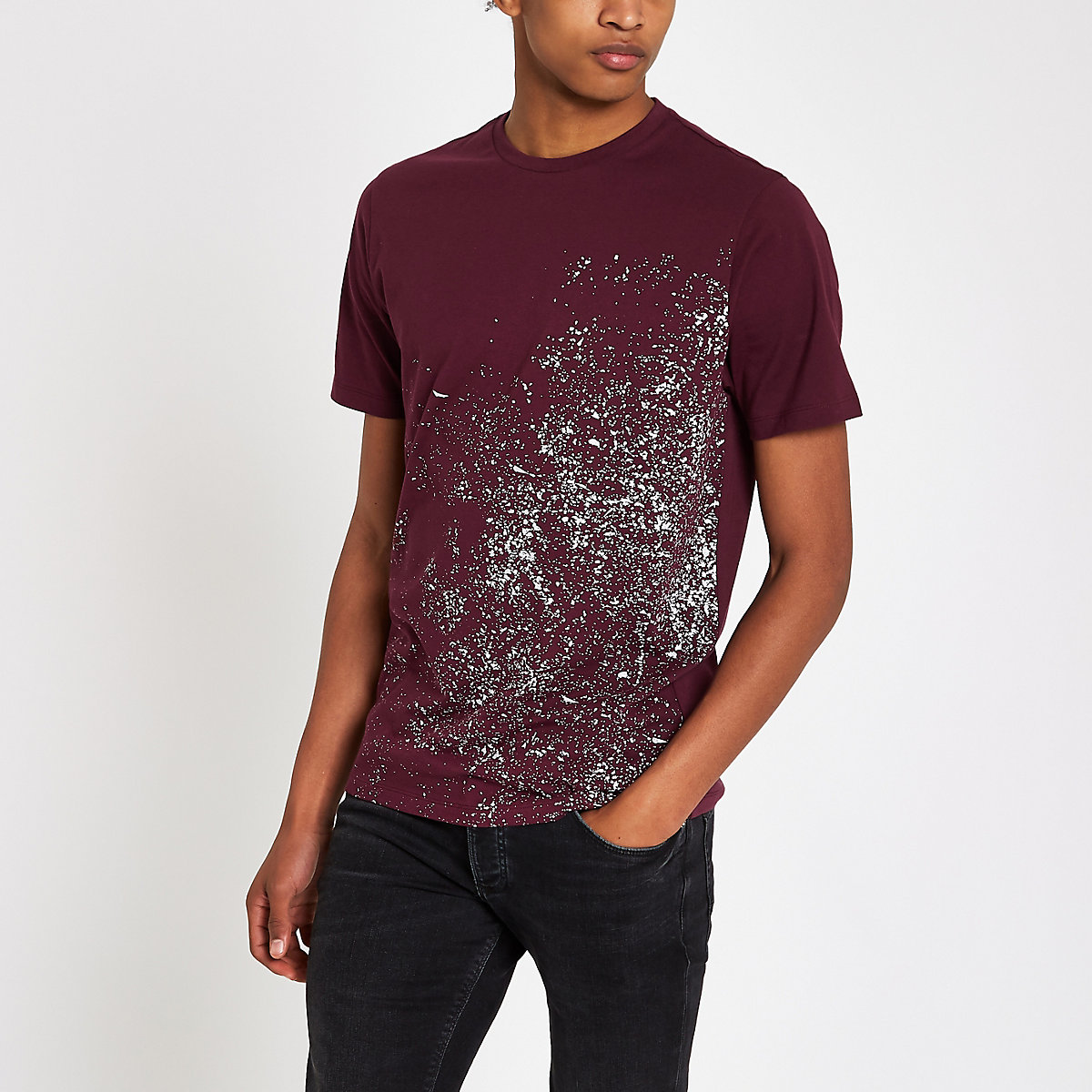 Burgundy slim fit paint splat T-shirt