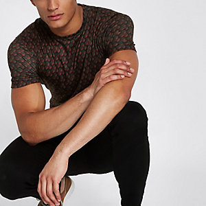 Brown geo print slim fit crew neck T-shirt