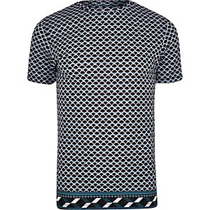 Navy slim fit geo print T-shirt