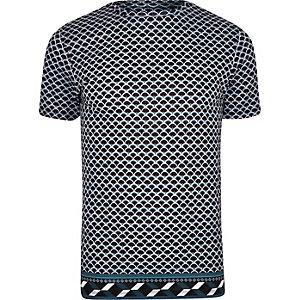 T-shirt slim à imprimé géométrique bleu marine